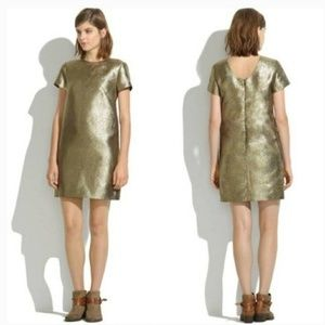 New Madewell Metallic Gold Shimmery Dress